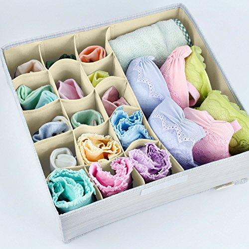 Mee'life Faltbare Stoff Unterwäsche Aufbewahrungsbox, Kleider Aufbewahrungsbeutel Korbbehälter Organizer Container Divider für Quilt Bekleidung Kleidungsstücke BH Socken Krawatten Schals (hellgrau)