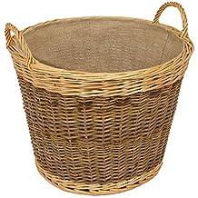 woodluv Cesto mediano color marrón oscuro mimbre, forro blanco