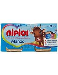 Nipiol Omogeneizzato con Manzo e Cereale senza Glutine e senza Sale Aggunta - Confezione da 2 X80 gr
