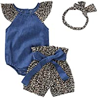 Modaworld Mamelucos Bebe niña Infantiles Monos Mezclilla Camiseta Camisas + Shorts Estampados De Leopardo Pantalones Vaqueros