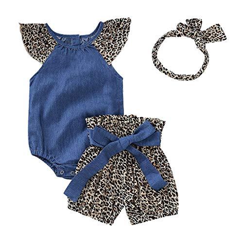 Lazzboy Infant Baby Mädchen Denim Overall Strampler Leopard Print Shorts + Stirnbänder Kleidung Set Stück Toddler Kinder Spielanzug Blumendruck Haarband Kleinkind Neugeborenes Kinderkleidung(Höhe80) (Leopard Print Beanie)