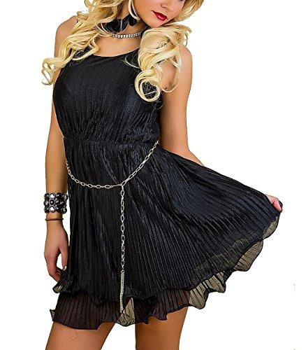festliches Plisseekleid Ketten-Gürtel Sommerkleid Cocktailkleid Kleid schwarz, Größe:38