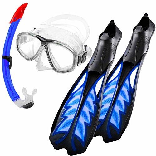 """Schnorchelausrüstung bzw. Schnorchelset \""""SportDiving\"""" inkl. Schwimmflossen ab Größe 34 bis 48, komfortabler Taucherbrille / Tauchermaske (gehärtete Gläser) & einem innovativen Schnorchel mit Ausblasventil. Das ABC-Zubehör (Tauchset) bzw. Tauchquipment \""""SportDiving\"""" umfasst Taucherflossen + Schnorchelmaske + Trockenschnorchel LARGE"""