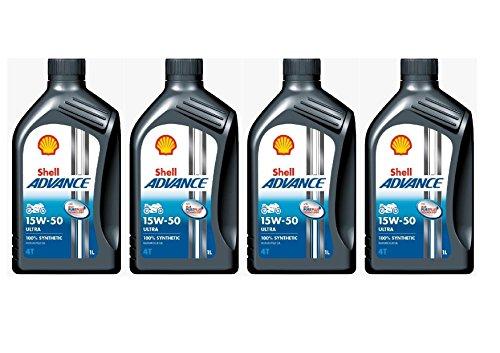 Shell Advance 4T Ultra Lot de 4 bidons de 1 litre d'Huile moteur 100% synthétique 15w-50