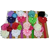 XIMA Shabby Flowers Baby Headbands Girls Hair Accessories Pack Of 8