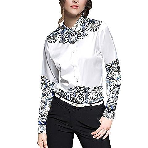 Femmes à Manches Longues Lapel Neck Blouse Floral Imprimé Office Ladies Shirt,PhotoColor-XXL