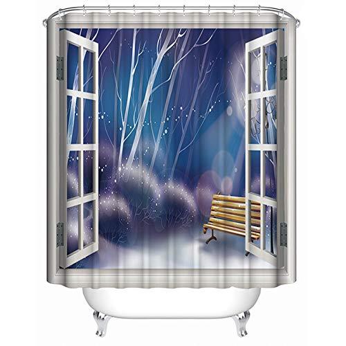 KnSam Duschvorhang Schnee Nacht Vorhänge Badewannevorhang Wasserdicht Anti-Schimmel -