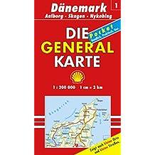 Generalkarte Dänemark 1. Aalborg, Skagen, Nykobing 1: 200 000.