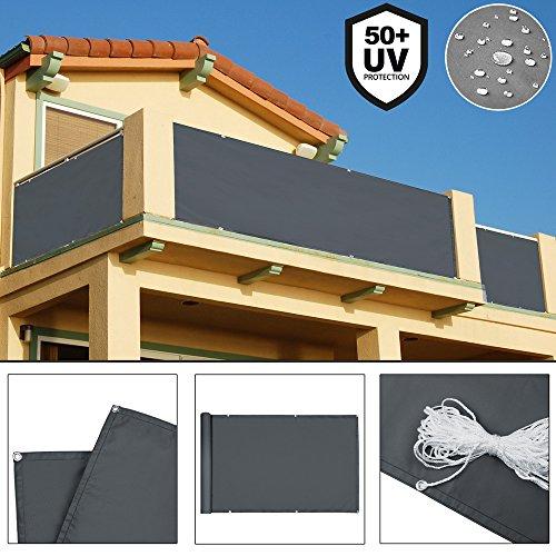 Deuba Windschutz 5m   UV-Schutz 50+   Wasserabweisend   Sichtschutz Balkonbespannung Balkonumspannung Balkonsichtschutz   Einfache Montage   Waschbar   500cm x 90 cm Anthrazit