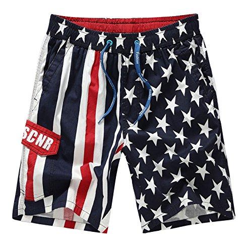 HOOM-Nouveau pantalon de plage d'été occasionnels Shorts hommes Camo coton taille lâche cinq pantalons shorts Dark Blue