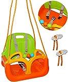 alles-meine.de GmbH Babyschaukel / Gitterschaukel - mitwachsend & umbaubar - mit Gurt -  ORANGE / GRÜN / GELB  - leichter Einstieg ! - 100 kg belastbar - Kinderschaukel ab 1 Jahre - mit Rückenlehne & Seitenschutz - mitwachsende - Schaukel für Kinder - Innen und Außen / Garten - für Baby´s - aus Kunststoff / Plastik - Gitterschaukel / verstellbare Kleinkindschaukel - Baby - Indoor Outdoor / Kunststoffschaukel - Mitwachsschaukel bunt - Sicherheitsgurt