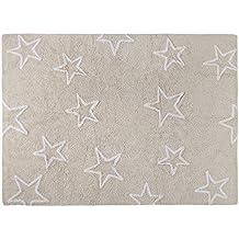 Lorena Canals Alfombra Infantil Lavable Modelo Estrellas Color Beige