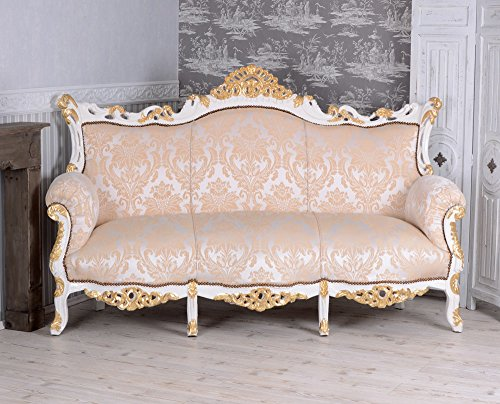 PALAZZO INT Gigant Sofa Barock Salonsofa Cremeweiss Prunksofa 200cm Barocksofa