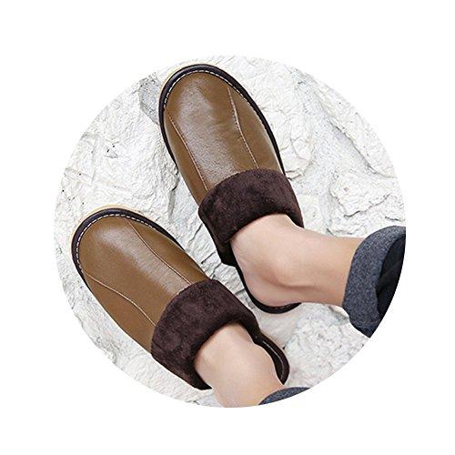 Tellw Hommes Et Femmes Chaud Pantoufles D'hiver Coton Doux Pantoufles D'intérieur Doux Chaussures D'hiver Douce Perméabilité