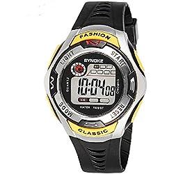 QBD Sports Kids Hintergrundbeleuchtung LED Digital Alarm Stoppuhr Wasserdicht Armbanduhr Kinder Uhren Gelb