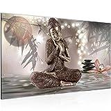 Bilder Buddha Feng Shui Wandbild Vlies - Leinwand Bild XXL Format Wandbilder Wohnzimmer Wohnung Deko Kunstdrucke 70 x 40 cm Braun 1 Teilig -100% MADE IN GERMANY - Fertig zum Aufhängen 503414a