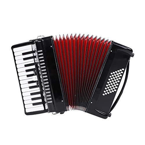 Dilwe Pianoakkordeons, Button Akkordeon mit Tasche, Trageriemen, Wischtuch, 48 Bass 26 Key 3 Switch, Schwarz