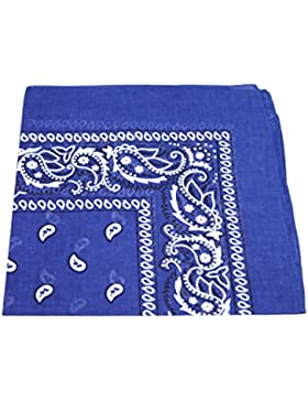 ROYAL BLUE cotton bandana scarf SQUARE BLACK WHITE PAISLEY by TC-Accessories