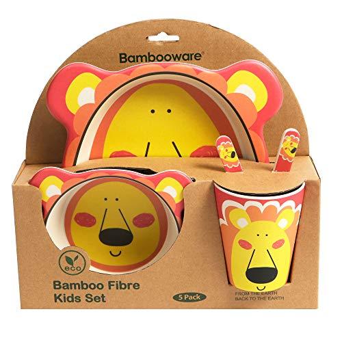 ORNAMI 5-teiliges Bambus-Geschirrset für Kinder, Löwe Design - Kinder-Geschirrset mit Bambusteller, Kleinkindbesteck, Bambusschale und Kinderbecher - umweltfreundlich, BPA-frei und spülmaschinenfest