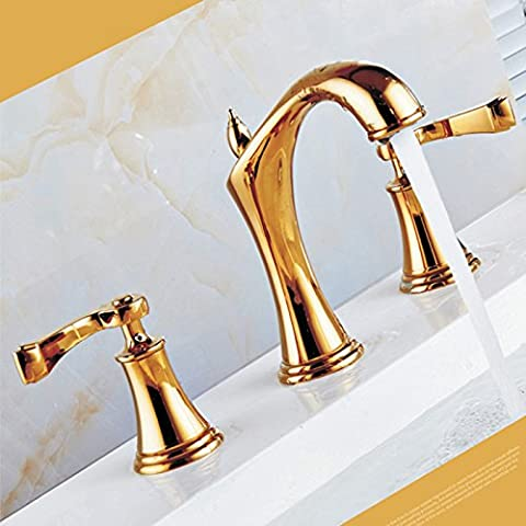 Saejj-Basin Taps Hot And Cold Basin Dragon. European Style Copper Material Bathroom Triple Type Cold And Hot Water Tapbathroom Taps