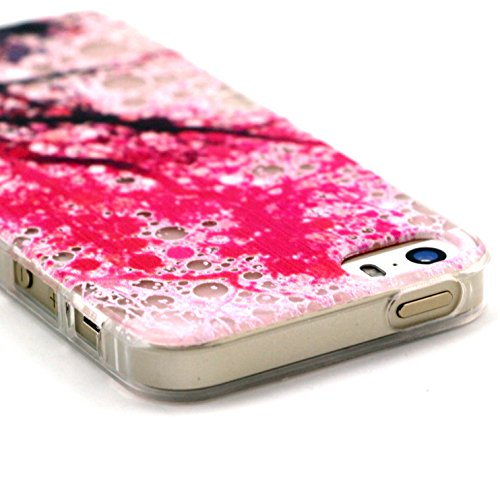 iPhone 5s 5 Hülle,iPhone 5s 5 Case [Scratch-Resistant] , ISAKEN iPhone 5s 5 Ultra Slim Perfect Fit Einzigartige Ozean Meer Design Niedliche Cartoon Malerei TPU Clear Transparent Protective back Hülle  Ink Plum Flower Tree