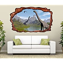 3D Wandtattoo Dino Dinosaurier Kinderzimmer Selbstklebend Wandbild Tattoo  Wohnzimmer Wand Aufkleber 11L2246, Wandbild Größe F