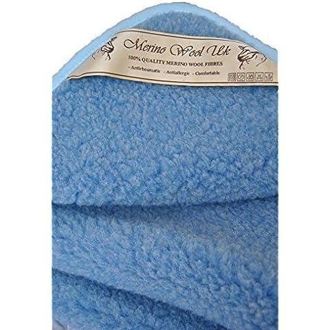 Manta de lana Merino manta 140x 100cm 550gsm, woolmarked. Azul