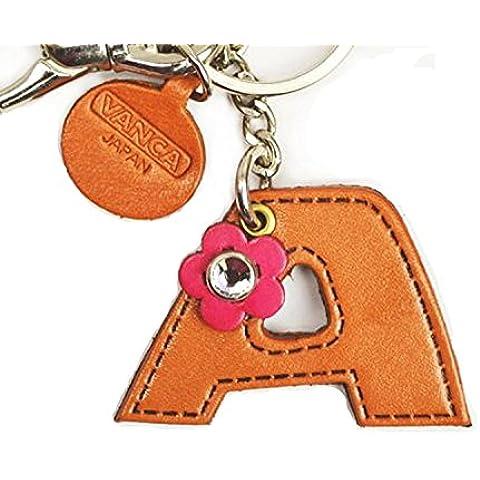 Genuiine lettera dell'alfabeto A in pelle/Borsa portachiavi VANCA **, fatto a mano, Made in Giappone - Mano Crafts