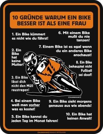 """Blechschild geprägt, Aluminium """" Vergleich Bike und Frau """""""