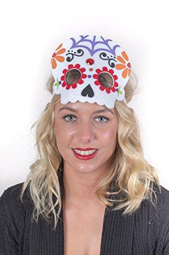 Kostüm Der Feier Toten Tag - Carpeta Maske * Day of The Dead * für Halloween und Motto-Party als Verkleidung // Totenkopf mit Bunten Blumen // Verkleidung Mask Tag der Toten Feier Filz Gesichtsmaske