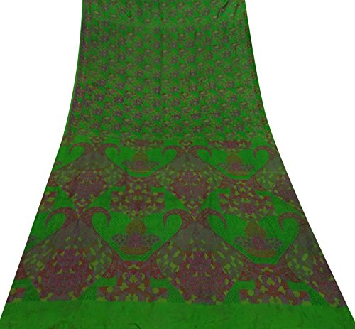 Indiano del mestiere del tessuto 100% seta stampata floreale saree sari verde usato vintage