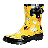 SheSole Ladies Wellies Short Rubber Womens Printed Wellington Boots