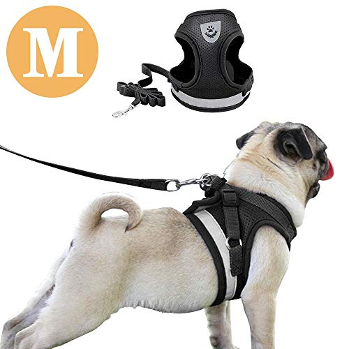 DAMIGRAM Hundegeschirr Geschirr Verstellbar, Powergeschirr Brustgeschirr für aktive Hunde, Hundegeschirr Reflektierend Air Mesh, Brustgeschirr Weste für Training oder Walking (M) Air Oxford