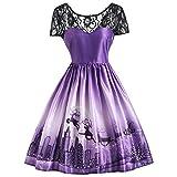 iShine Weihnachten Kleid Damen Kurzarm Rockabilly Kleid mit Rentier Halloween Festlich Kleid für damen Swing Kleid Partykleid Cocktailkleid