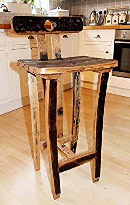 Oak, Scotch Whisky barrel stave bar/kitchen stool, with back rest