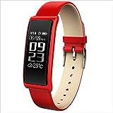 XHZNDZ Fitness Tracker Smart Armband Körper Gesundheit Blutdruck Pulsmesser Wasserdichte Sport Touchscreen Aktivität Smart Watch (Farbe : Rot)