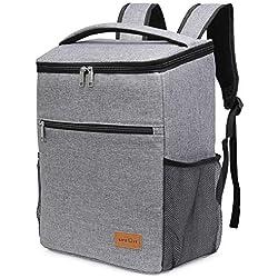 Lifewit 24L (30-Canette) Sac de pique-nique Sac à Dos Isotherme à Glacière Cooler Backpack Bag, Sac Isotherme Portable Pour Déjeuner Plage Pique-Nique Camping BBQ, Gris