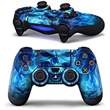 Elton PS4 Controller Designer 3M Skin for Sony PlayStation 4 DualShock Wireless Controller - Blue Skull Fire, Skin for One Controller Only