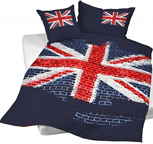 CASATEX Renforcé Bettwäsche Union Jack England Flagge Fahne Graffiti 135x200
