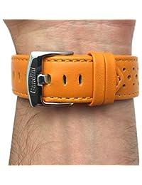 20mm Naranja con ventilación Racer piel auténtica correa para reloj banda, con hebilla de acero inoxidable, nuevo.