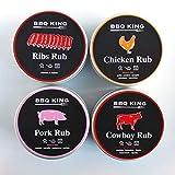 BBQ KING - Multi Pack Rub per Barbeque - 4 Confezioni di Rubs - 4 x 70gr - Spezie barbecue
