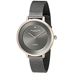 Stuhrling Original Women's Quartz Watch with Grey Dial Analogue Display and Grey Stainless Steel Bracelet 589.04