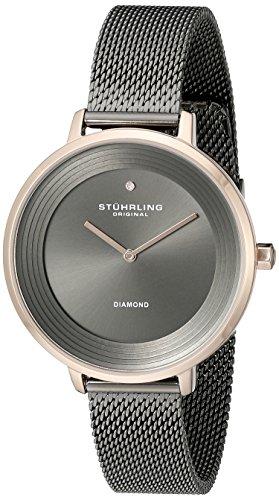 Stuhrling Original Symphony - Reloj de cuarzo, para mujer, con corea de acero inoxidable, color gris