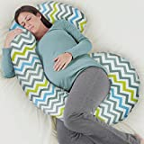 Rabitat Total Body Pregnancy Pillow with Jersey Cover - The World's Most Comfortable Maternity / Pregnancy cushion - With Zipper - Full Contoured Snuggle Support System. (Multi)