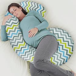Rabitat Total Body Pregnancy Pillow with Jersey Cover - The Worlds Most Comfortable Maternity/Pregnancy cushion - With Zipper - Full Contoured Snuggle Support System. (Multi Colour)