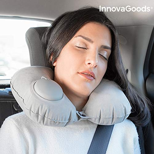 InnovaGoods Cojín Cervical Autohinchable Almohada de Viaje, 34 cm, Gris