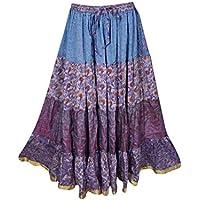 Mogul Interior Boho Chic Womens Skirt Bohemian Long Skirt Swing Skirt Belly Dance Indian Boho Hippie Gypsy Skirts Medium (Blue,Purple)