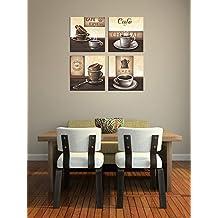 "Bilderdepot24 ""café Set"" bastidor imagen - Cuadros en Lienzo 4x cada 20x20 cm"