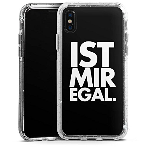 Apple iPhone X Bumper Hülle Bumper Case Glitzer Hülle Sprüche Sayings Phrases Bumper Case Glitzer silber