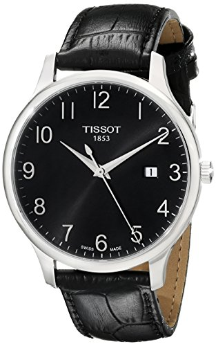 TISSOT MEN'S 38MM BLACK SYNTHETIC LEATHER BAND QUARTZ WATCH T0636101605200